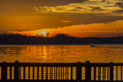 Colorful Sunset At The Lake Stock Images