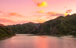 Colorful sunset on lake Stock Images