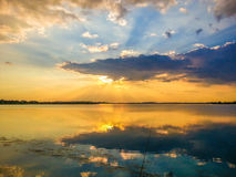 Colorful sunset and lake reflections on Morii Lake, Bucharest Stock Photography