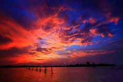 Colorful sunset. On the lake at Songkhla,Thailand Stock Photography