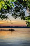Colorful sunset at lake. royalty free stock photography