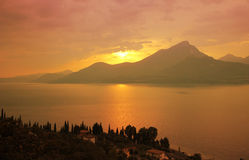 Colorful sunset landscape, garda lake, italy Royalty Free Stock Images