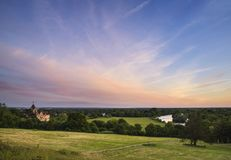 Colorful sunset landscape over fields and River Thames on Richmond Hill in London. Sunset landscape over fields and River Thames on Richmond Hill in London stock photos