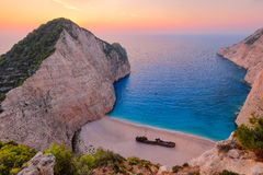 Colorful sunset landscape at Shipwreck beach, Zakynthos royalty free stock photography