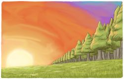 Colorful sunset landscape with trees. Illustration of a field with a colorful sunset on horizon and some trees Royalty Free Stock Image