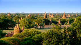 Colorful sunset landscape view with old temples, Bagan, Myanmar Stock Images