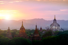 Colorful sunset landscape view with silhouettes of temples, Baga Stock Photography