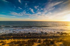 Colorful sunset in Malibu beach. Los Angeles, California Royalty Free Stock Image