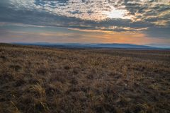 Colorful sunset in meadow royalty free stock images