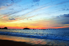 Colorful sunset on the Mediterranean coast Stock Image