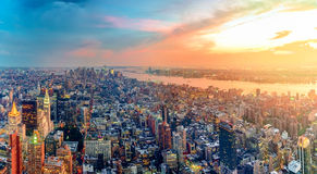 Colorful Sunset in New York. Manhattan Shines with the Last Lights of the Day Royalty Free Stock Photos