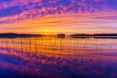 Colorful Sunset in Northern Wisconsin Royalty Free Stock Image