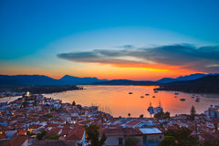 Colorful sunset over Aegean sea. Greece Royalty Free Stock Image