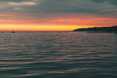 Colorful sunset over Baltic Sea coast Stock Photo