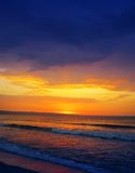 Colorful sunset over beach Stock Photography