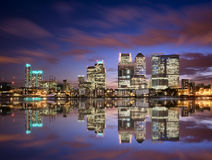 Colorful sunset over Canary Wharf Stock Photo