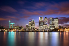 Colorful sunset over Canary Wharf Royalty Free Stock Images