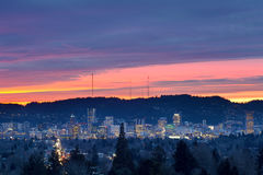 Colorful sunset over City of Portland Stock Image