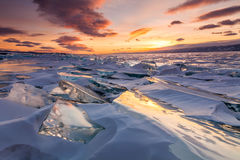 Colorful sunset over the crystal ice Royalty Free Stock Image