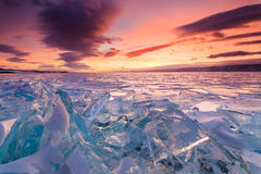 Colorful sunset over the crystal ice Stock Photography