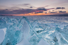 Colorful sunset over the crystal ice Royalty Free Stock Photo