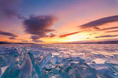Colorful sunset over the crystal ice Stock Photo