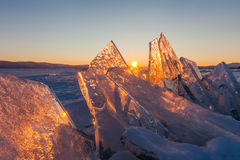 Colorful sunset over the crystal ice of Baikal lake Stock Photography