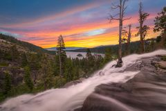 Eagle Falls sunset near Emerald Bay California. Colorful sunset over Eagle Falls at Emerald Bay, Lake Tahoe. This is the California side royalty free stock photo