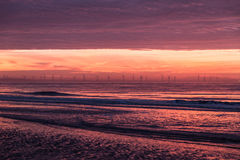 Colorful sunset over Formby Beach. Colorful, pink sunset over Formby Beach Royalty Free Stock Photos