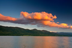 Colorful sunset over the lake Stock Photography