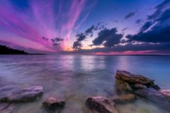 Colorful Sunset Over the Lake stock photo