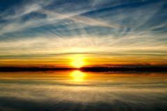Colorful Sunset Over Lake. In Oklahoma royalty free stock photography