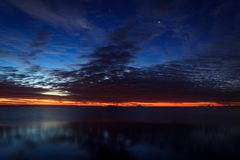 Colorful sunset over Lake Onego Royalty Free Stock Photos