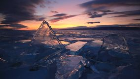Colorful sunset over the majestic icy Lake Baikal. stock video