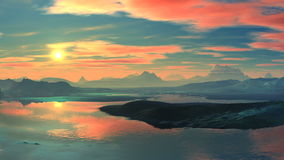 Colorful sunset over the mountain lake stock footage