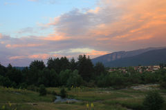 Colorful sunset over the mountains. Romantic sunset over the mountains Royalty Free Stock Photography
