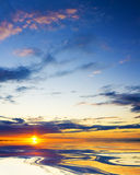 Colorful sunset over ocean. Nature composition Royalty Free Stock Images