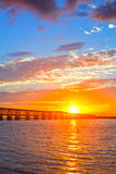 Colorful sunset over the old railroad bridge in Bahia Honda. Florida Keys Royalty Free Stock Photos