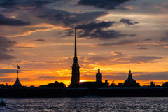Colorful sunset over Peter and Paul Cathedral, St. Petersburg, R Stock Photography