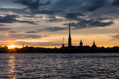 Colorful sunset over Peter and Paul Cathedral, St. Petersburg, R Stock Image