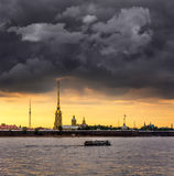 Colorful sunset over Peter and Paul Cathedral, St. Petersburg, R Royalty Free Stock Images