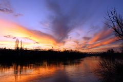 Colorful Sunset over the River royalty free stock photos