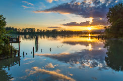 Colorful Sunset Over River Royalty Free Stock Images