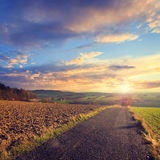 Colorful sunset over road Royalty Free Stock Photography