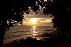 Colorful sunset over sea Pataya beach Thailand Stock Photography