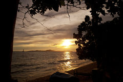 Colorful sunset over sea Pataya beach Thailand Royalty Free Stock Photography