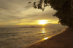 Colorful sunset over sea Pataya beach Thailand Stock Image