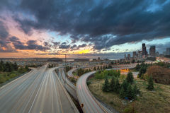 Colorful Sunset Over Seattle Skyline stock images