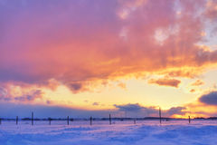 Colorful sunset over snow Stock Photography