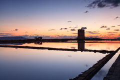 Colorful sunset over Trapani salterns Stock Image